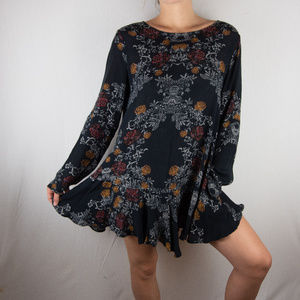 Free People Vintage Floral Long Sleeve Mini Dress